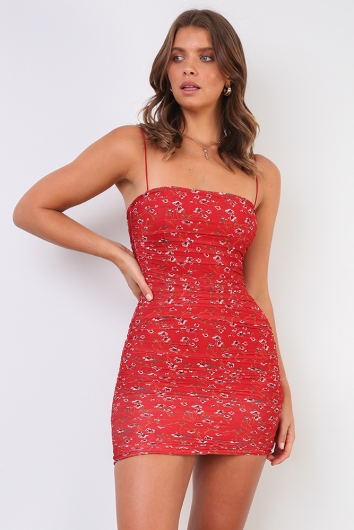 Caren Dress - Red Floral