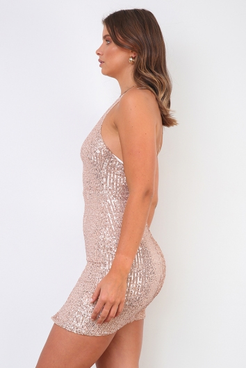 Magic Night Dress- Gold Sequin