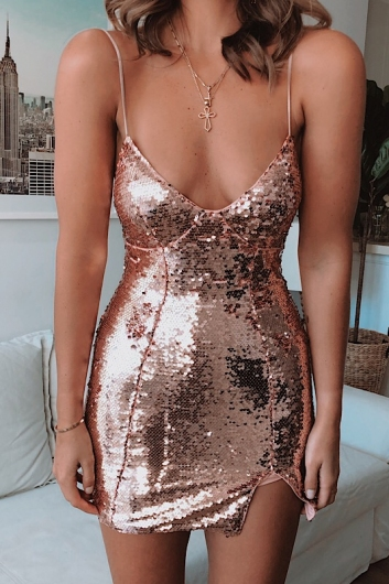 Zalie Dress - Rose Sequin