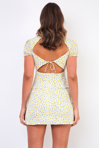 Lemon Squeeze Dress - White/Yellow Print