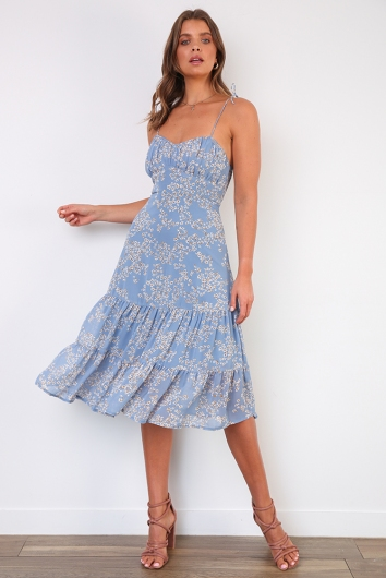 Catch Me In The Springtime Dress - Blue Floral