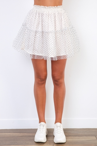 Qiana Skirt - Off White Dot