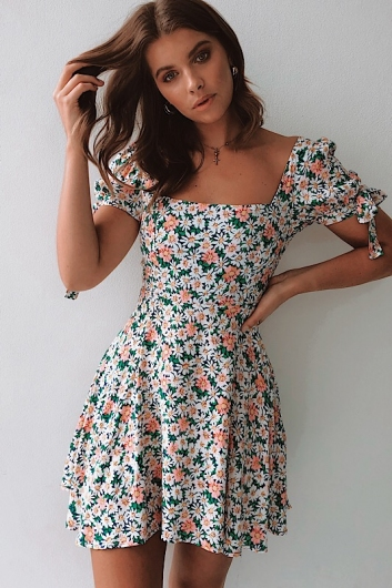 George Alice Dress - Pink/White/Green Floral