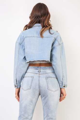 Tara Cropped Jacket - Blue Denim