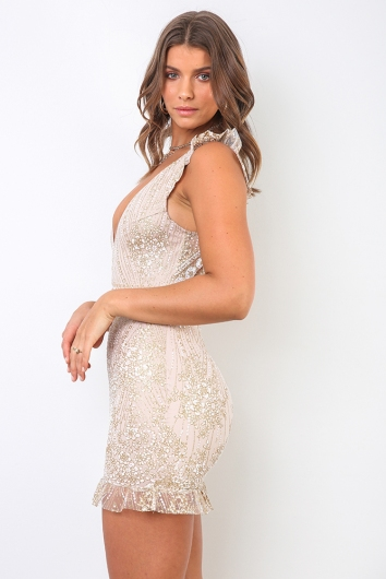 Rule The World Dress - Blush Sequin