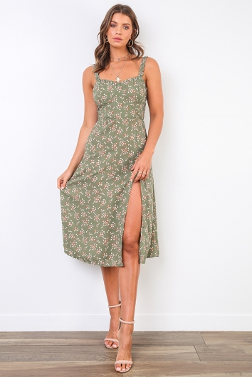 Mikayla Dress - Khaki Print