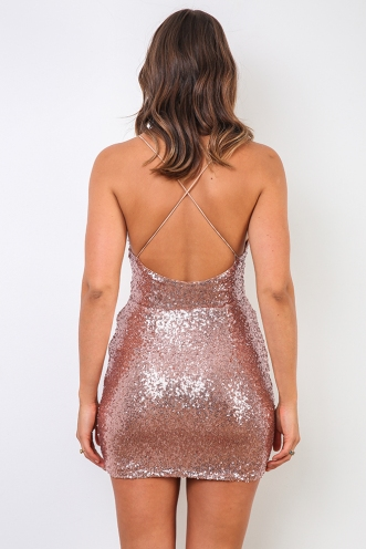 Hopeless Romantic Dress - Rose Gold Sequin