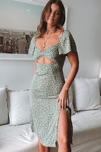 Makenzie Dress - Sage Print