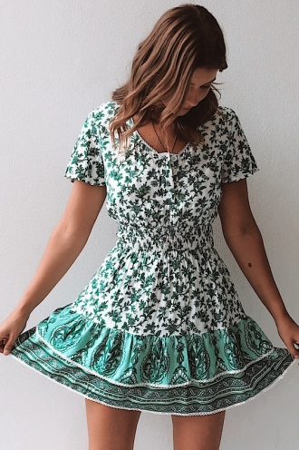 Carmen Dress - White/Green Print