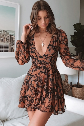 After Dark Dress - Navy/Tan