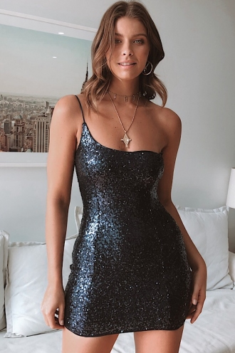 Erika Dress - Navy Sequin