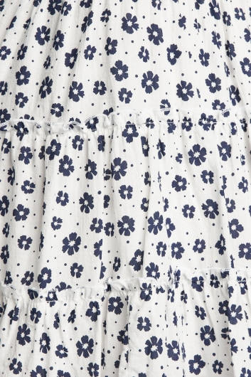 Eden Dress - White/Navy Print