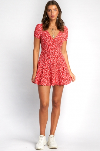 Shareen Dress - Red Floral