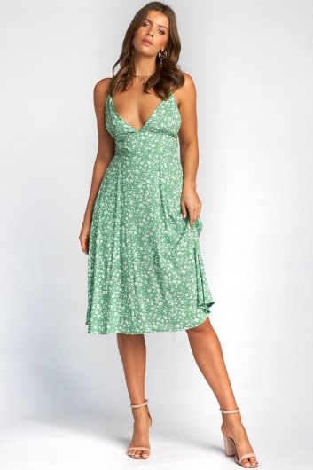 Stevie Dress - Green Floral