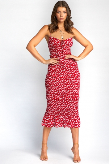 Clairo Dress - Red Floral