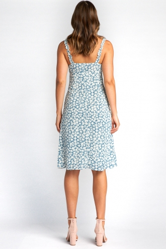 Bethany Dress - Steel Blue Floral