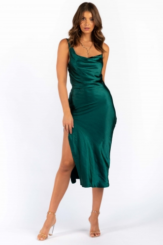 Elani Dress - Green Silky