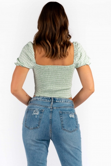 Nicole Top - Sage Check