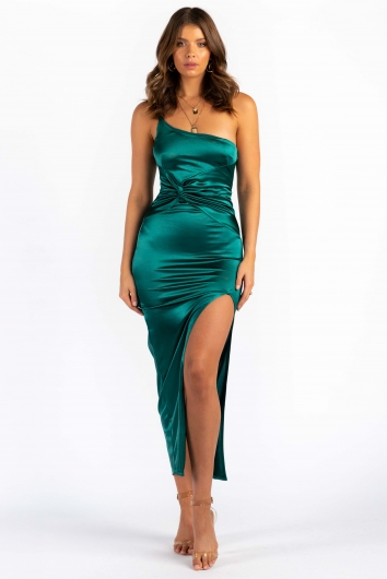 Tina Dress - Green Silky