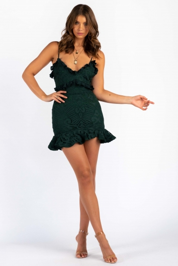 Analeese Mini Dress - Forest Green