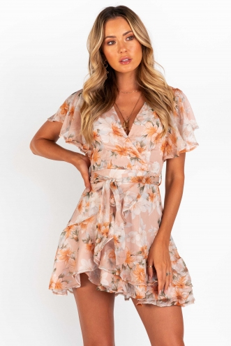 Fine Dining Dress - Nude Floral