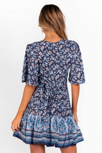 Sammy Wrap Dress- Navy Print