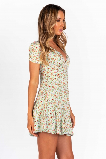 Shareen Dress - Mint Floral