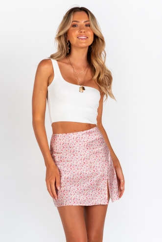 Britney Skirt - Pink Floral Silky