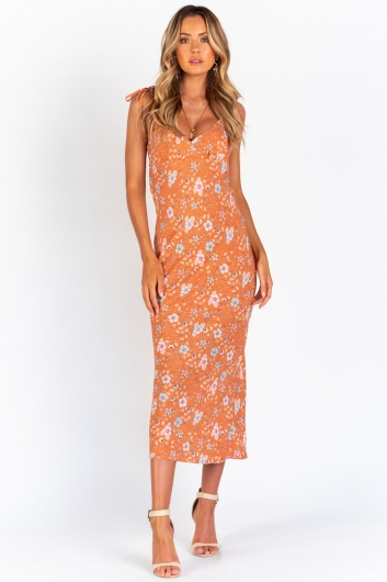 Mellie Dress - Orange Print