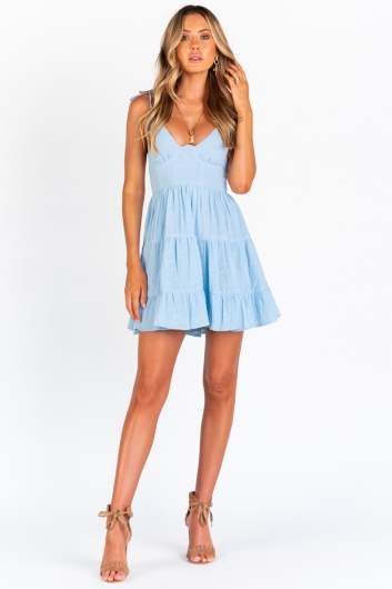 Rushing Back Dress - Blue