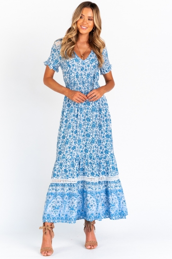 Talk Deep Dress - White/Blue Floral