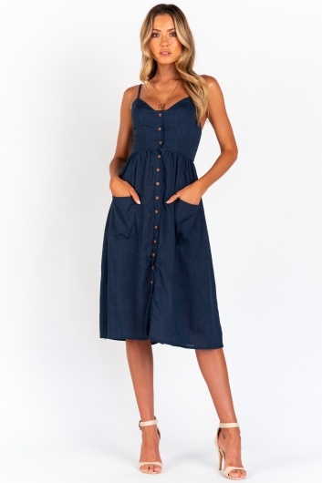 The Tide Is High Dress -Navy