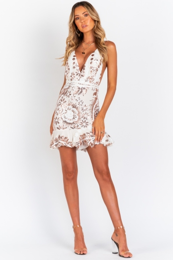 Bang Bang Dress - White/Gold Sequin