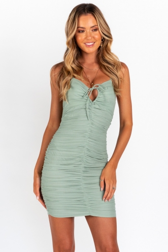 Caught Up With You Dress - Sage