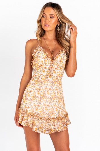 Autumn Flowers Dress - White/Brown Floral