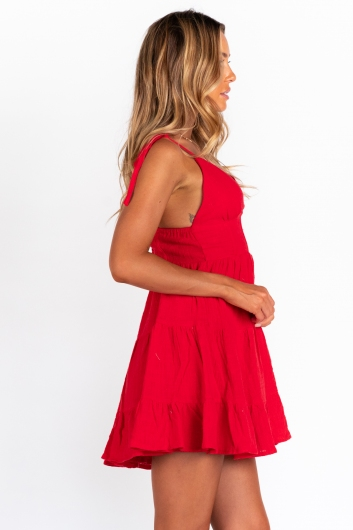 Rushing Back Dress - Red