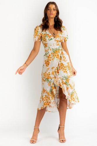 Into The Sun Dress - White/Orange Floral