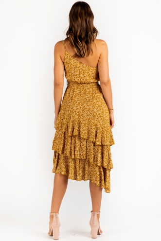 Foolin Myself Dress - Mustard Floral