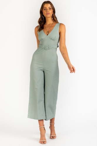 Sweep Me Away Jumpsuit - Sage