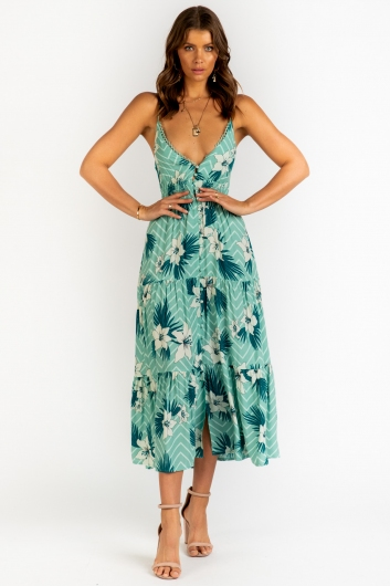 Summer Calling Maxi Dress- Green Print
