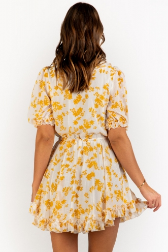Afterlife Dress - White/Mustard Floral