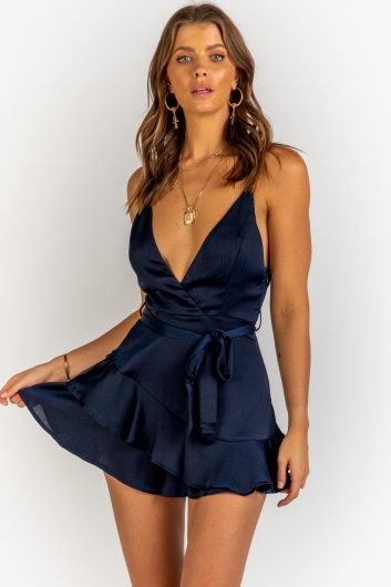 Wrapped In Love Playsuit - Navy