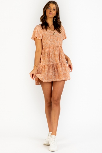 Crystal Skies Dress - Peach Print