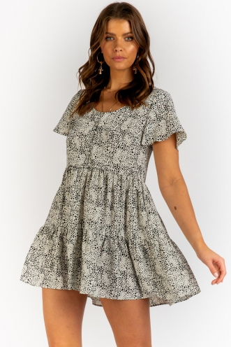 Crystal Skies Dress - White/Black Print