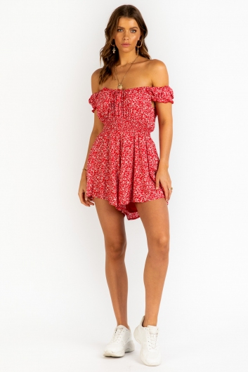 Emma Louise Playsuit - Red Floral