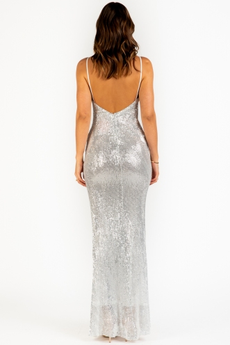 It Feels So Good Dress - Silver Sequin