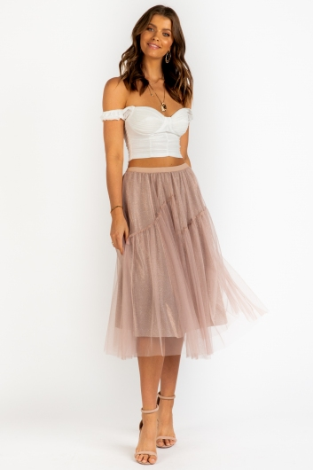 Fairy Lights Skirt - Beige Sparkle