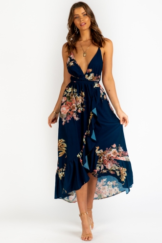 Passion Fruit Mousse Dress - Navy Floral