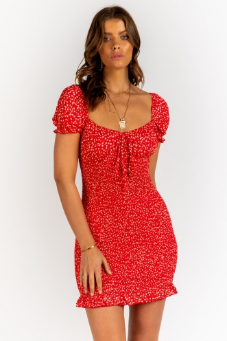 Honey Drip Dress - Red Floral