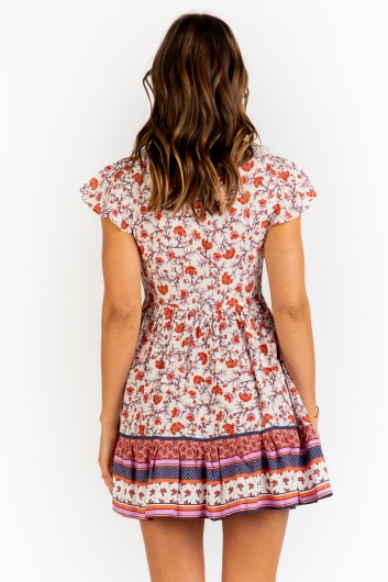 Blissful Days Spring Dress - Rust Floral